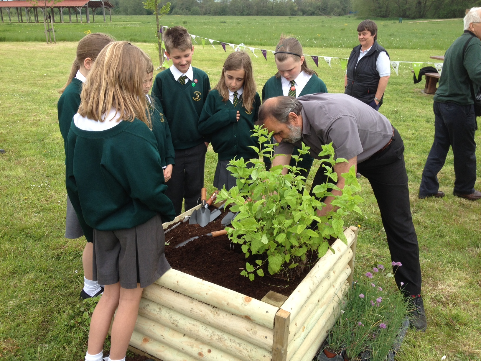 School children planting raised bed in amenity area