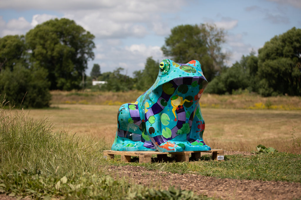 A carbon fiber toad statue painted with bright colours and a board game theme standing in a meadow.