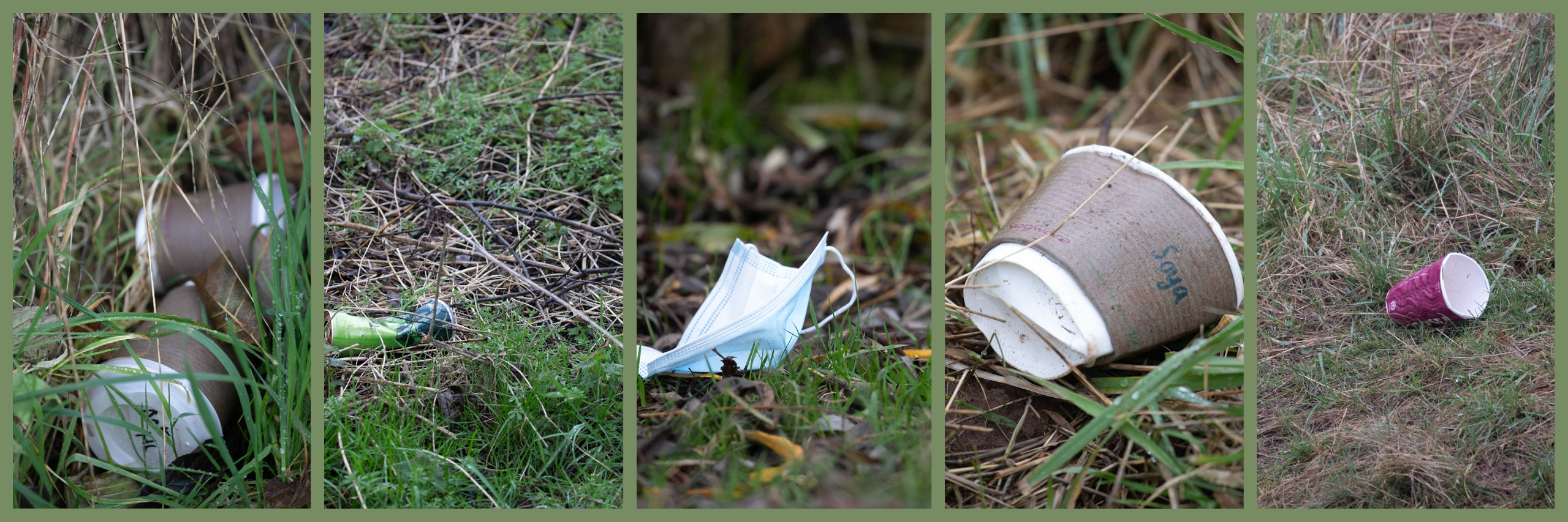 Five pictures of cups, cider cans and masks dropped on the ground.